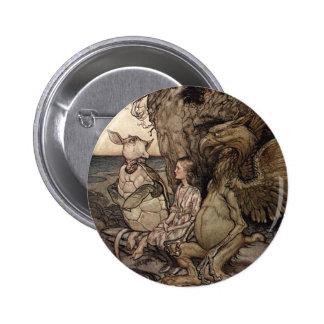 Alicia con el Gryphon y la tortuga falsa Pin Redondo 5 Cm