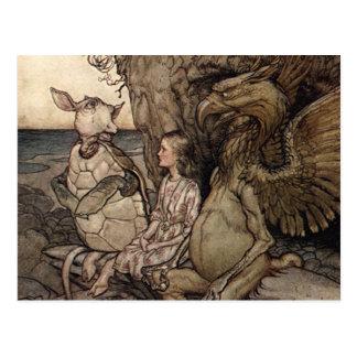 Alicia con el Gryphon y la tortuga falsa Postal