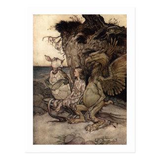 Alicia con el Gryphon y la tortuga falsa Tarjeta Postal