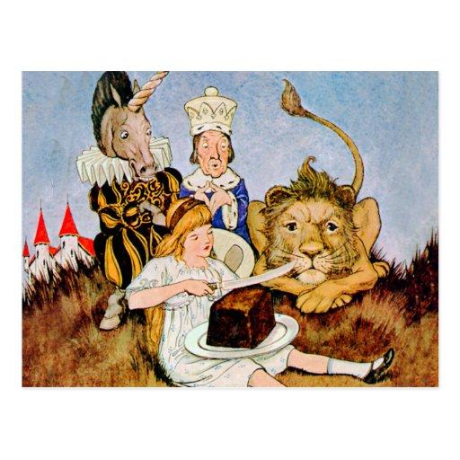 Alicia dice un león y la torta del unicornio lo postales