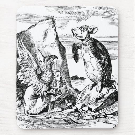 Alicia, el Gryphon y la tortuga falsa Alfombrillas De Raton