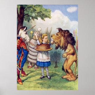 Alicia, el león y el unicornio en Wonderaland Poster