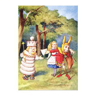 Alicia el rey blanco y el conejo como bufón de la  impresión en lona