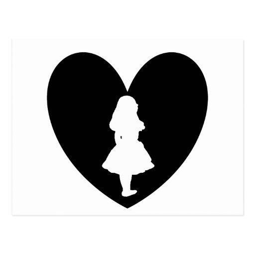Alicia en amor del país de las maravillas en negro tarjetas postales
