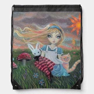 Alicia en arte del cuento de hadas del país de las mochila