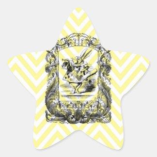 Alicia en arte del vintage de Francy del conejito Pegatina En Forma De Estrella