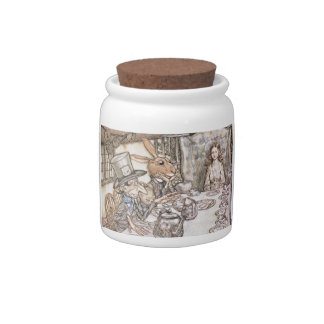 Alicia en arte del vintage del país de las maravil jarras para caramelos