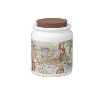 Alicia en arte del vintage del país de las maravil jarra para caramelo