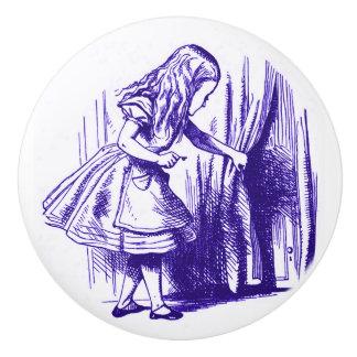 Alicia en botón de la púrpura de la cortina del pomo de cerámica