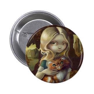 """""""Alicia en botón de un retrato de da Vinci"""""""