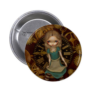 Alicia en botón del mecanismo pin