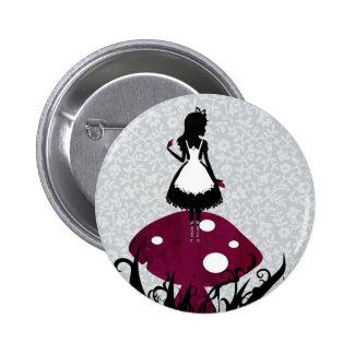Alicia en botón del Pin del país de las maravillas