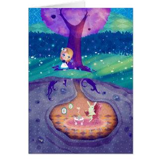 Alicia en claro de luna del país de las maravillas tarjeta de felicitación