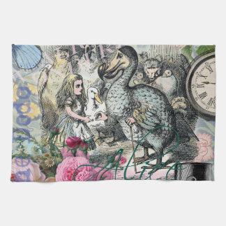Alicia en collage del bonito del vintage del Dodo Toallas De Cocina
