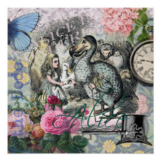 Alicia en collage del bonito del vintage del Dodo Perfect Poster