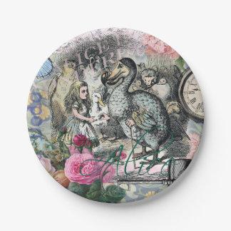 Alicia en collage del bonito del vintage del Dodo Plato De Papel De 7 Pulgadas