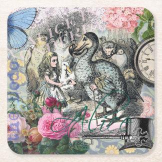Alicia en collage del bonito del vintage del Dodo Posavasos Personalizable Cuadrado
