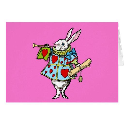 Alicia en corazones del rojo del conejo de la tarj tarjeta pequeña
