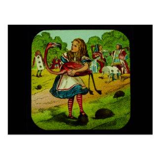 Alicia en croquet del flamenco del país de las mar tarjetas postales