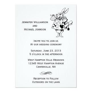 """Alicia en el boda moderno blanco negro del país de invitación 5.5"""" x 7.5"""""""