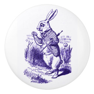 Alicia en el botón blanco de la púrpura del conejo pomo de cerámica