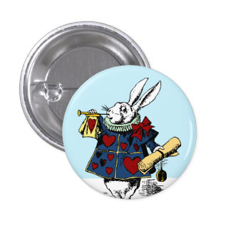 Alicia en el estilo blanco #1 del botón del conejo pin redondo de 1 pulgada