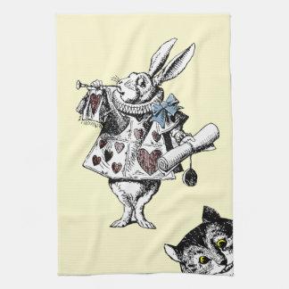 Alicia en el gato blanco de Cheshire del conejo Toalla De Cocina