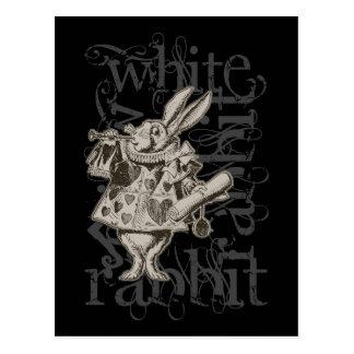 Alicia en el Grunge blanco del conejo del país de  Postales