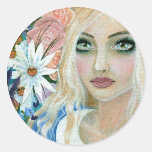 Alicia en el jardín de flores vivas pegatinas redondas