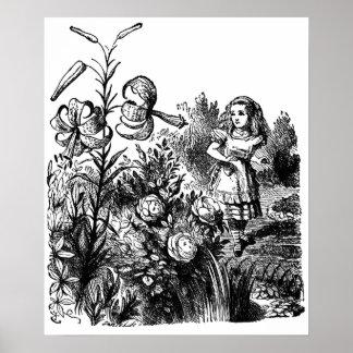 Alicia en el jardín de flores vivas póster