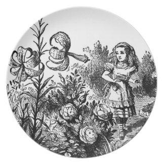 Alicia en el jardín plato