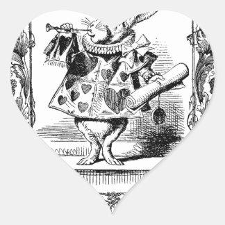 Alicia en el marco adornado Vinta del cuerno del Pegatina En Forma De Corazón