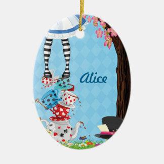 Alicia en el ornamento del óvalo del país de las adorno navideño ovalado de cerámica