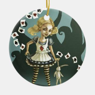 Alicia en el país de las maravillas adorno navideño redondo de cerámica
