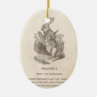 Alicia en el país de las maravillas, capítulo uno, adorno navideño ovalado de cerámica
