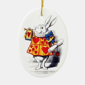 Alicia en el país de las maravillas el conejo adorno navideño ovalado de cerámica