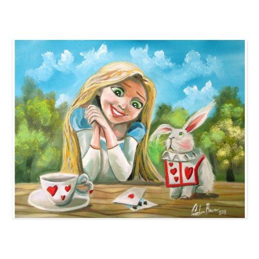 Alicia en el país de las maravillas el conejo blan tarjetas postales