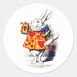 Alicia en el país de las maravillas el conejo pegatina redonda