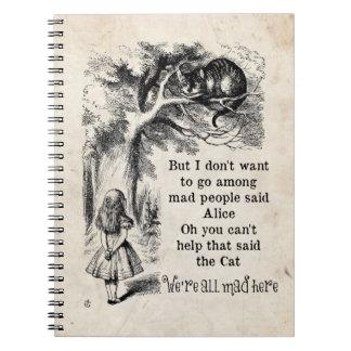 Alicia en el país de las maravillas; Gato de Spiral Notebooks