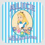 Alicia en el país de las maravillas - marco pegatinas cuadradas personalizadas