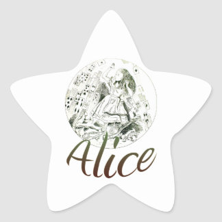 Alicia en el país de las maravillas pegatina en forma de estrella