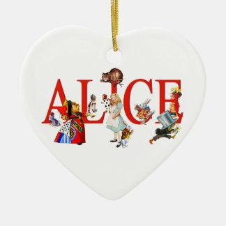 Alicia en el país de las maravillas y amigos adorno navideño de cerámica en forma de corazón