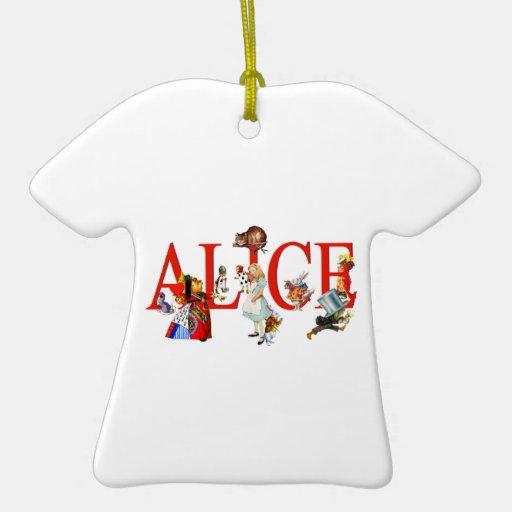 Alicia en el país de las maravillas y amigos adorno navideño de cerámica en forma de playera