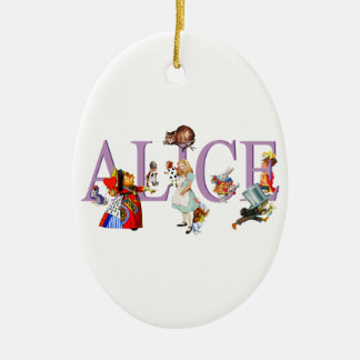 Alicia en el país de las maravillas y amigos adorno navideño ovalado de cerámica