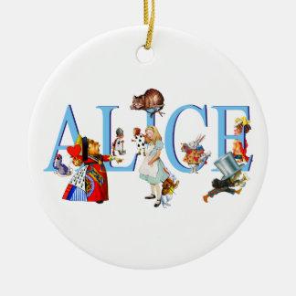 Alicia en el país de las maravillas y amigos adorno navideño redondo de cerámica