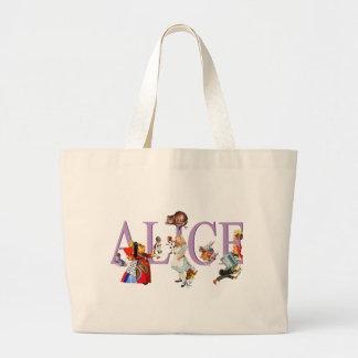 Alicia en el país de las maravillas y amigos bolsa de tela grande