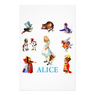 Alicia en el país de las maravillas y amigos papeleria de diseño