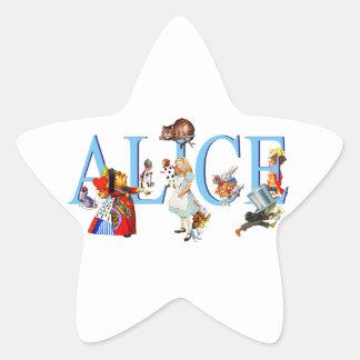 Alicia en el país de las maravillas y amigos pegatina en forma de estrella
