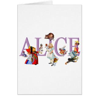 Alicia en el país de las maravillas y amigos tarjetas