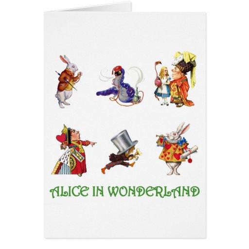 Alicia en el país de las maravillas y amigos tarjeta de felicitación